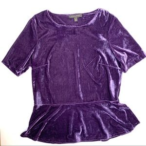 Banana Republic Velvet Peplum Blouse Purple Small